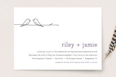 """Birds of a Feather"" - Simple, Modern Wedding Invitations in Plum by R studio."