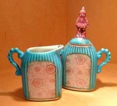 Gnome Sugar and Creamer - Porcelain one of a kind by Tricia McGuigan, represented by Human Arts Gallery in Ojai, CA
