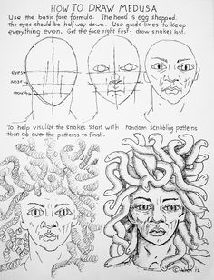 How To Draw Medusa Face With Snakes Worksheet Medusa Painting, Medusa Drawing, Snake Drawing, Snake Art, Elementary Art Lesson Plans, Greek Mythology Art, Drawing Lessons, Drawing Step, Drawing Ideas