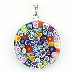 Amazon.com: Sterling Silver Millefiori Flower Murano Glass Circle Pendant: Jewelry