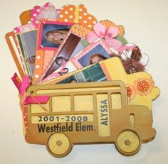 School Bus Chipboard Album.  Includes a school picture from kindergarten to 6th grade. #School, #Album, #Craft