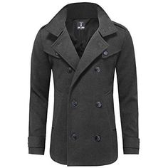 Toms Ware Mens Classic Wool Double Breasted Pea Coat