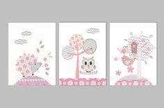 Pink and Gray Nursery Art Owl Decor Baby Girl by RoolarooDesigns