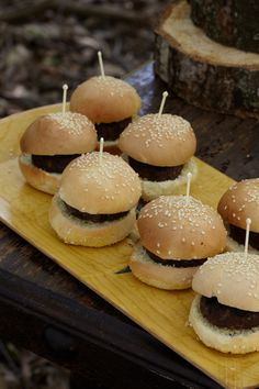 Mini Hamburgers. A little fire-grilled something for every guest at the baby shower.