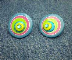 Large Pop Psychodelic Earrings Button Jewelry by JeanstoJewels, $6.95
