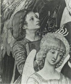 Matteo di Giovanni di Bartolo, Assunzione della Madonna, angeli musicanti, particolare, Londra National Gallery