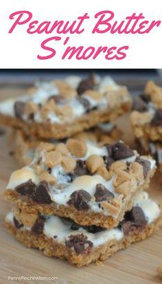 Dessert recipe:  Peanut Butter S'mores  peanut butter recipes | easy snacks | kids snacks | fall recipes