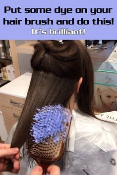 Put some dye on your hair brush and do this!