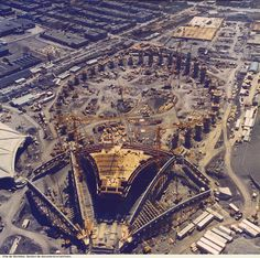 Early construction of the Olympic Stadium and Velodrome for the 1976 Summer Olympics. Not sure how many years before this was in Quebec Montreal, Old Montreal, Montreal Ville, Montreal Canada, Olympic Stadium Montreal, Expo 67, Road Trip, Canadian History, Old Pictures