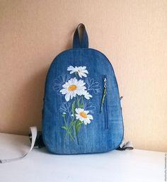 Купить Рюкзак джинсовый женский Букет с ромашками - рюкзак, рюкзак ручной работы, рюкзачок