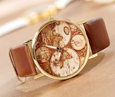 Brown leather world map watch