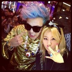 G-Dragon-G-Dragon with labelmate CL from 2NE1