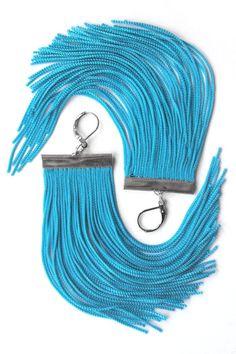 Short Fringe Earrings in Turquoise via Etsy