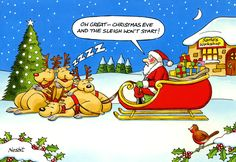 Funny Christmas Cards - Sleigh Won't Start