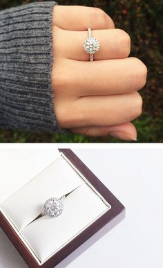 THIS. This is the EXACT ring I want. 14k white gold pave halo and shank diamond engagement ring