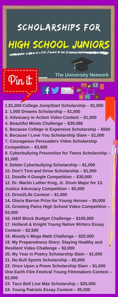 For High School Juniors Here is a selection of Scholarships For High School Juniors that are listed on TUN.Here is a selection of Scholarships For High School Juniors that are listed on TUN. Financial Aid For College, College Planning, Education College, College Tips, College Ready, College Checklist, College Success, Education Degree, Primary Education