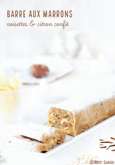 Bar with chestnuts, hazelnuts & lemon confit nougat Biscuit Cookies, Cake Cookies, 13 Desserts, Afternoon Snacks, Biscuits, Cookie Recipes, Lemon, Food And Drink, Sweets