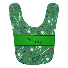Personalized name green lacrosse pattern