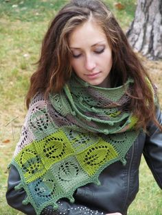 """""""September"""" (knitted shawl, wrap, knitting lace, entrelac)"""