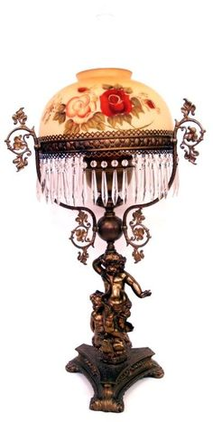 229: VICTORIAN STYLE CHERUB TABLE LAMP PAINTED SHADE : Lot 229