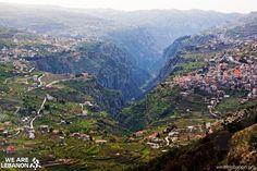 The residences nestled above the grand Kadisha Valley in Bcharre, Lebanon