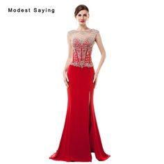 Find More Evening Dresses Information about Luxury Sexy Split See Through Red Mermaid Beaded Evening Dresses 2017 with Rhinestone Women Night Party Prom Gown robe de soiree,High Quality beaded evening dresses,China evening dress Suppliers, Cheap robe de soiree from modest saying Lacebridal Store on Aliexpress.com