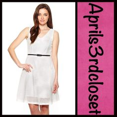 "Dress White Lace A Line NEW WITH TAGS  RETAIL PRICE: $98  Sharagano White Eyelet Lace Dress   * Flattering A-Line silhouette w/a black skinny belt   * Lightweight yet high quality fabric w/allover eyelet design   * Double V-neck front & back & a flared skirt   * Back zipper w/hook & eye closure   * About 33"" long; Tag size 6 (M)  Fabric: 100% Cotton & fully lined in 100% polyester  Color: White Item:9135  No Trades ✅Fair Offers*/Bundle Discounts✅  *Please use the 'offer' button to submit…"