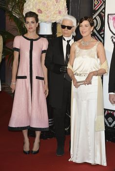 MyRoyals: Rose Ball 2015, Sporting Monte-Carlo, Monaco, March 28, 2015-Charlotte Casiraghi with her mother Princess Caroline and designer Karl Lagerfeld