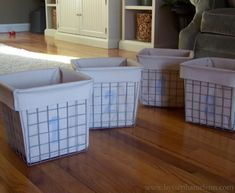 Affordable Baskets and Easy, DIY liners.  Buy the metal frames here:  http://www.target.com/p/ClosetMaid-Nickel-Wire-Drawer/-/A-12193772... these would be nice as toy boxes
