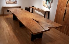 Beautiful recycled wood dining room table.