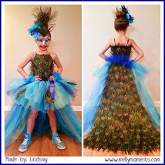 DIY Halloween Costumes on Melly Moments Blog!  Come check out this incredible peacock costume!  From every little detail, head to toe, any little girl would LOVE to wear this!:
