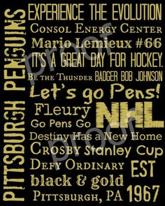 Pittsburgh Penguins Hockey Subway Art Print 11x14