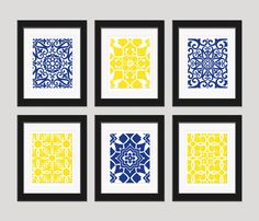 Bathroom...Navy Yellow Wall Art, Blue Yellow Art, Home Decor, Set of 6 - 8x10 Prints, Living Room Art, Bedroom Art, Dining Room Art, Navy Yellow Decor on Etsy, $55.00