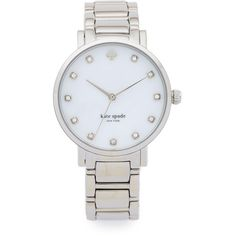 Kate Spade New York Gramercy Bracelet Watch (915 RON) ❤ liked on Polyvore featuring jewelry, watches, accessories, relojes, silver, bracelet watch, silver jewelry, kate spade jewelry, snap jewelry and silver bracelet watch