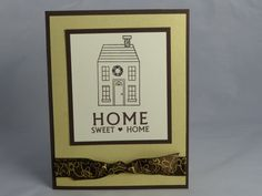 Congratulate a new homeowner with a handmade new home card. The base of the card is brown which was layered with gold, shiny paper. The Home