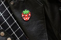 Une petite fraise Hama en perles Miyuki (diagramme gratuit))