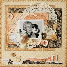 Grandma & cat scrapbook page made with papers from @graphic45