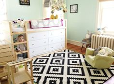 "20 Ways to Customize the IKEA KURA Loft Bed & Make It Your Own | Apartment Therapy The little girl has plenty of storage under her KURA with these two dressers, but her parents saved some space behind which they call the ""bear cave"" and is filled with stuffed animals, pillows and blankets."