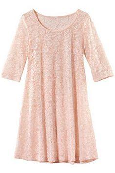 ROMWE   Cut-out Half Sleeves Pink Lace Dress, The Latest Street Fashion #ROMWEROCOCO
