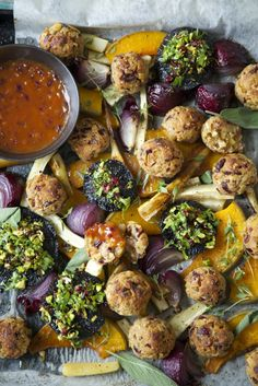Vegetarian (or Vegan Roast) with Cranberry, Sage and Cashew Nut Stuffing Balls and Tomato Onion Gravy