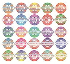50 badges states of the USA by Iconika on @creativemarket