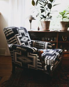 I'd live in this chair! Perfect for Reading. My living room chair (a custom reupholstery job--designed by me, Jen McCabe). Photographed by Lauren Bamford for Yen Magazine. My Living Room, Living Room Chairs, Home And Living, Living Spaces, Le Style Navajo, Home Interior, Interior Design, Ideas Hogar, Deco Design