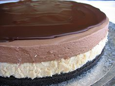 brownie refrigerator cake | Optional: You can also glaze the top of the mousse cake with your ...
