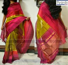 Olive and purple Kora silk saree by 9Yards