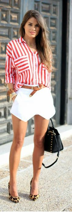 Zeliha's Blog: White Shorts Top Red Stripes Loose Shirt