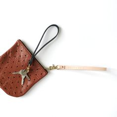 Convertible Dot Pouch in Brown with the new wristlet/keychain option.