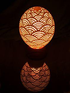 Carved Ostrich Egg Lamp