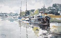 Tony Belobrajdic , River Barges Scene on ArtStack #tony-belobrajdic #art