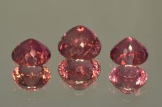 Beautiful Set of 3 Pink Tourmaline from Mozambique. Round (Portuguese) - MdMaya Gems http://mdmayagems.com/collections/red-pink/products/set-of-3-pink-tourmaline-from-mozambique-round-portuguese-cut-5-30-ct-set