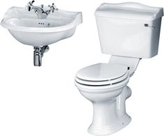 Traditional bathroom suite with toilet, cistern, seat and 500mm wide cloakroom basin. Only £196! https://www.taps4less.com/PP/PR-SUITE-25.html